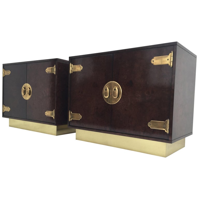 Pair of Mastercraft Burl Wood and Brass Bedside Tables 1