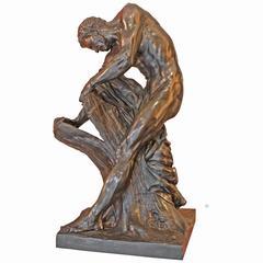 Bronze Statue of Milos of Croton after Edme Dumont