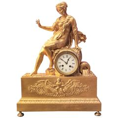 Gilt Empire Clock with Leaning Psyche