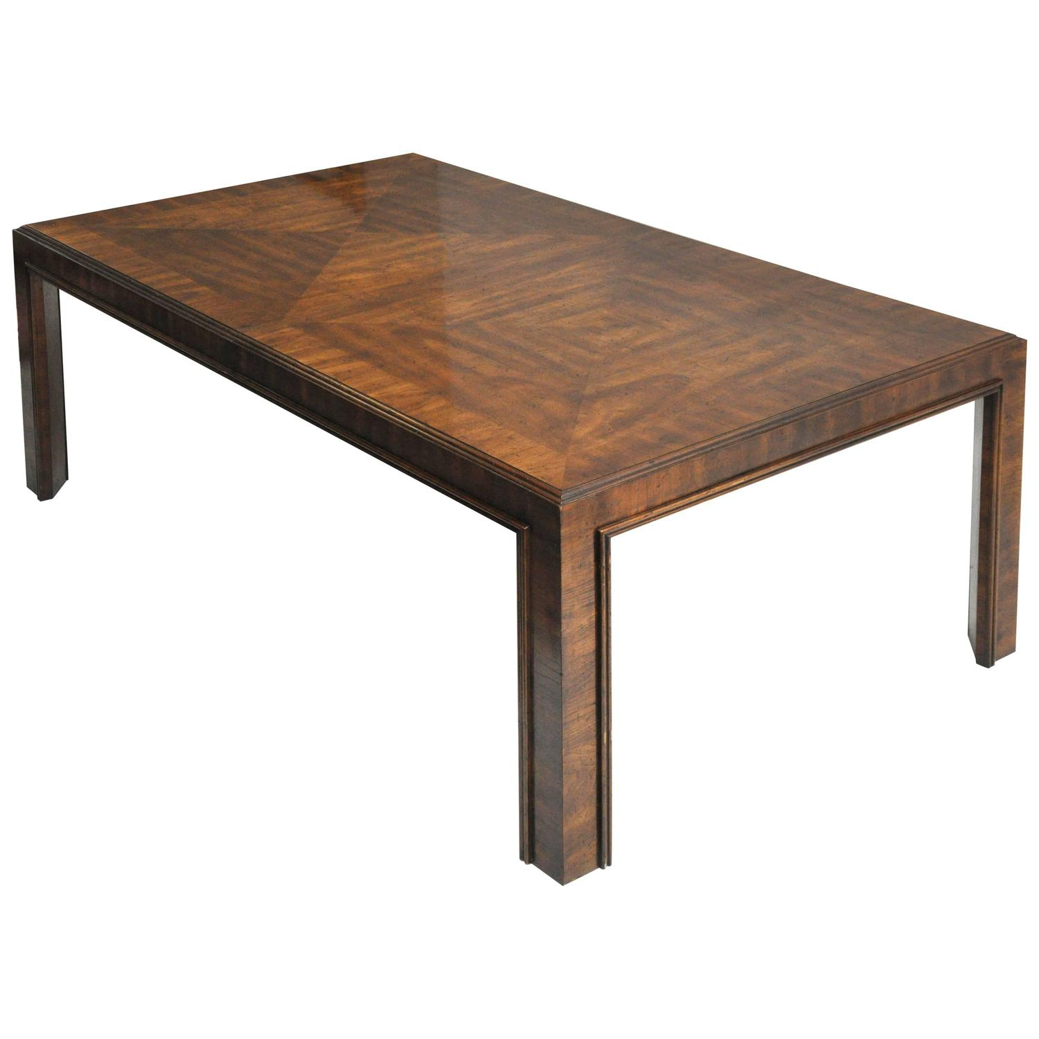 Drexel long dining table with unique woodgrain design for for Unique dining table design
