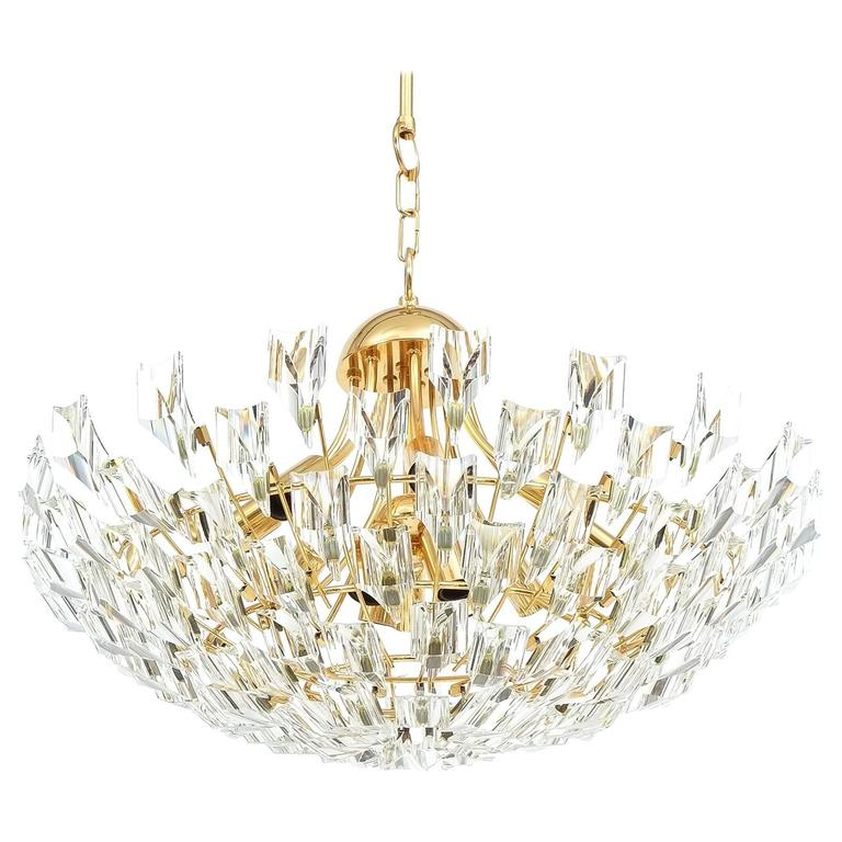Large glass and brass chandelier by stilkrone circa 1970 for sale at 1stdibs - Circa lighting chandeliers ...