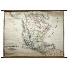 Antique Mid-19th Century Wall Map of North America by Lienhart Holle