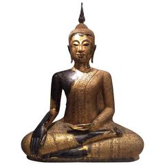Large Mid-19th Century Gilt Bronze  Buddha, Thailand