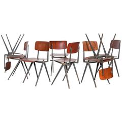 Set of Eight Friso Kramer Style School Chairs with Prouve Legs