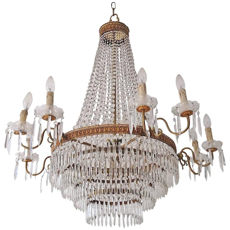 Chrystal and brass chandelier france circa 1900 for sale at 1stdibs - Circa lighting chandeliers ...