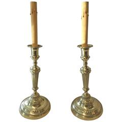 Pair of Neoclassical Brass Candlesticks, Now as Lamps