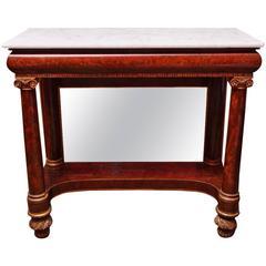American Empire Marble-Top Mahogany Pier Table