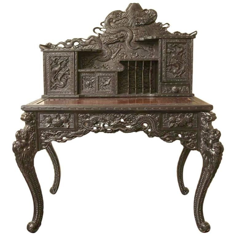 19th Century Japanese Export Hardwood Dragon Desk At 1stdibs