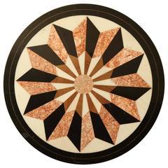 Graphic Pietra Dura Round Tabletop