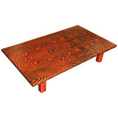 Unusual Red and Black Faux Bois Lacquer Low Table
