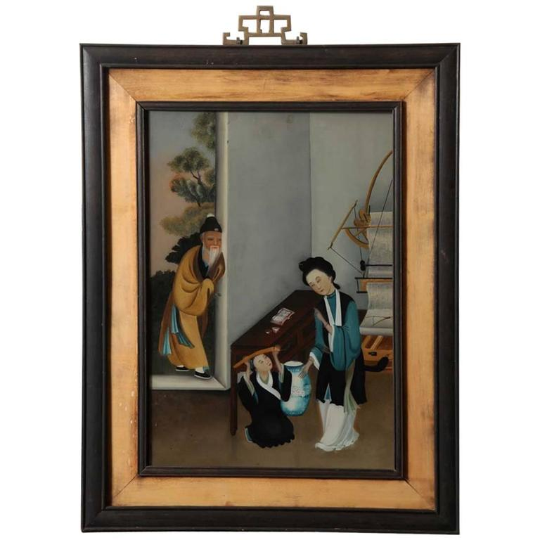 Late 19th Century Chinese Export Reverse Glass Painting At 1stdibs