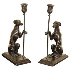 Vintage Pair of Bronze Greyhound Candleholder cum Bookends