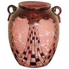 Art Deco Charder Le Verre Francais Cameo Glass Vase