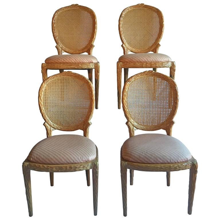 Exceptionnel Mid Century Modern Faux Bois Dining Chairs By Weiman For Sale