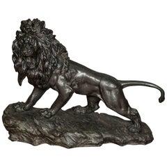 "Large 19th Century Japanese Bronze Lion 34"" (87cm) wide"