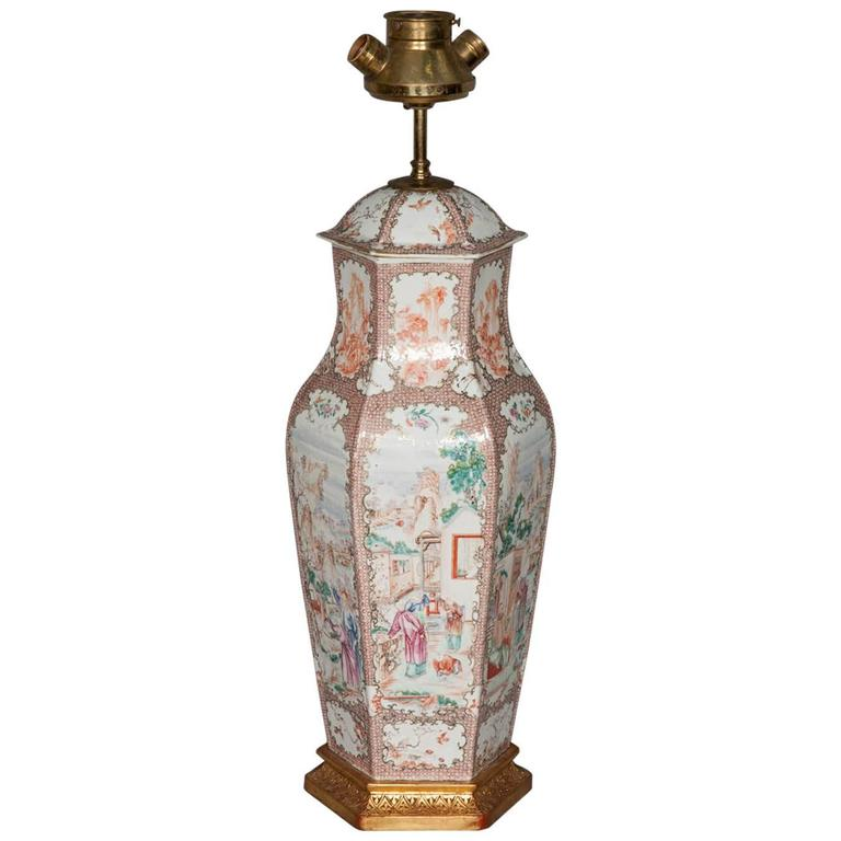 18th Century Chinese Mandarin Vase / Lamp For Sale