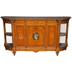 "Fine quality C19th classical Satinwood side cabinet. 80"" (203cm) wide"
