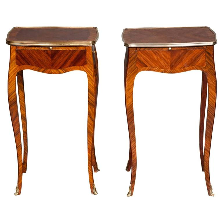 Pair Of Louis Xv Style Side Tables At 1stdibs