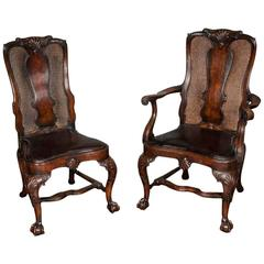 14 Queen Anne Style Walnut Dining Chairs
