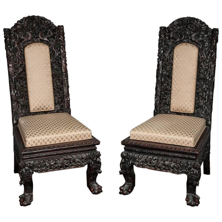 Pair 19th century chinese hardwood side chairs for sale at for Asian chairs for sale