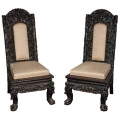 Pair 19th Century Chinese Hardwood Side Chairs