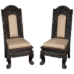 Pair 19th Century Chinese Hardwood Side Chairs