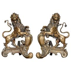 Pair of 19th Century Lion Fire Dogs/ Chenets