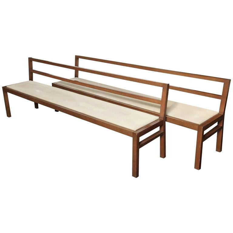 Pair of 20th Century Stained Oak Long Benches For Sale
