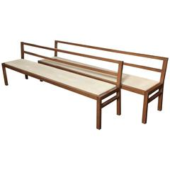 Pair of 20th Century Stained Oak Long Benches