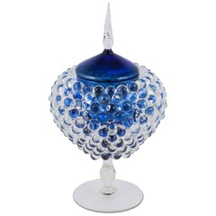 Empoli Jar with Spike, a unique clear & blue glass vessel by James Lethbridge