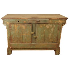 Original Green Painted Store Counter