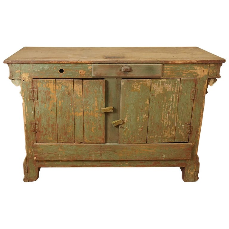 Original Green Painted Store Counter For Sale