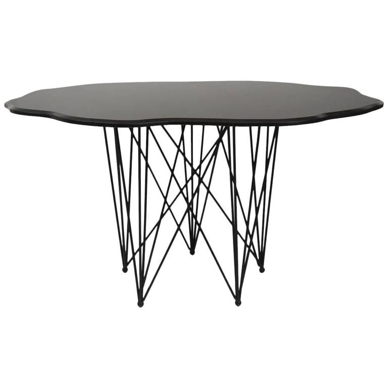 amazing black marble sculptural center or dining table for