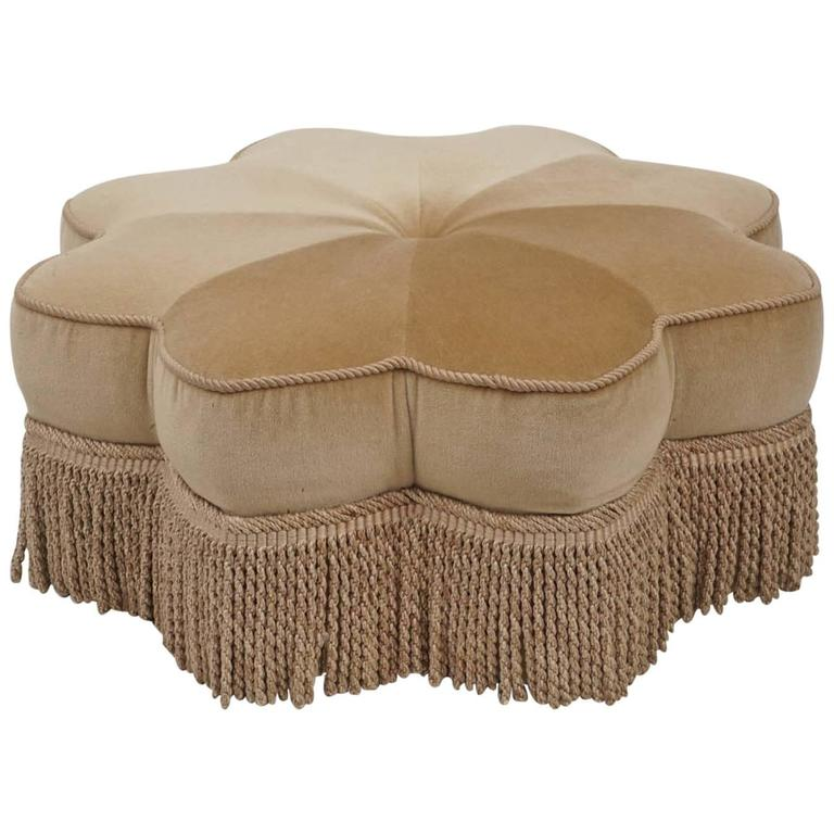 Mohair And Fringe Sunburst Ottoman At 1stdibs