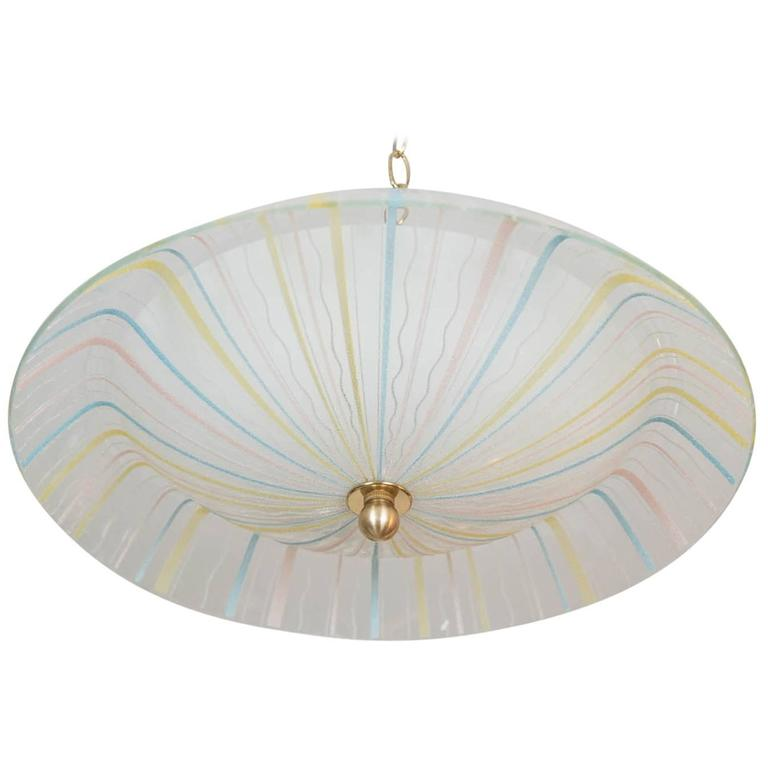 Modernist Italian Glass Flush Mount, circa 1958 For Sale