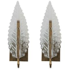 Pair of Vintage French Moderne Style Glass Leaf Sconces