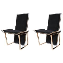 Pair of Chrome and Brass 1970s Chairs Attributed to Romeo Rega