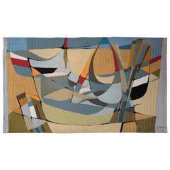 Silva Palmeira Impressionistic Woven Tapestry, circa 1970