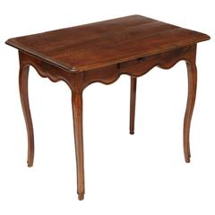 18th Century French Walnut Table with Single Drawer and Cabriole Legs