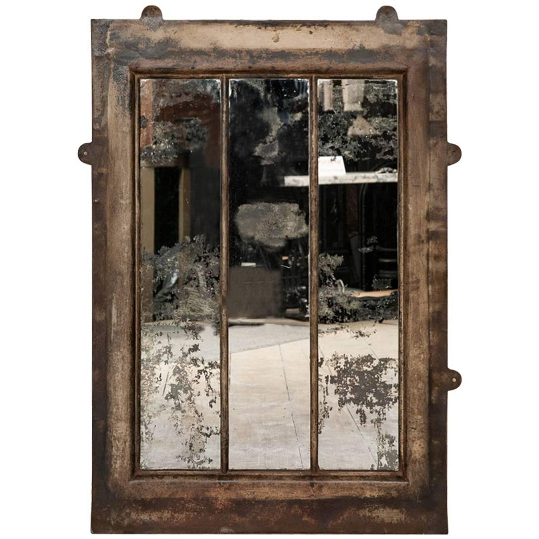 Antique cast iron wall mirror at 1stdibs for Antique wall mirrors