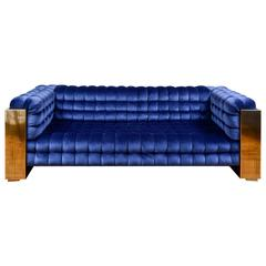 Padded Sofa in Sculpted Brass