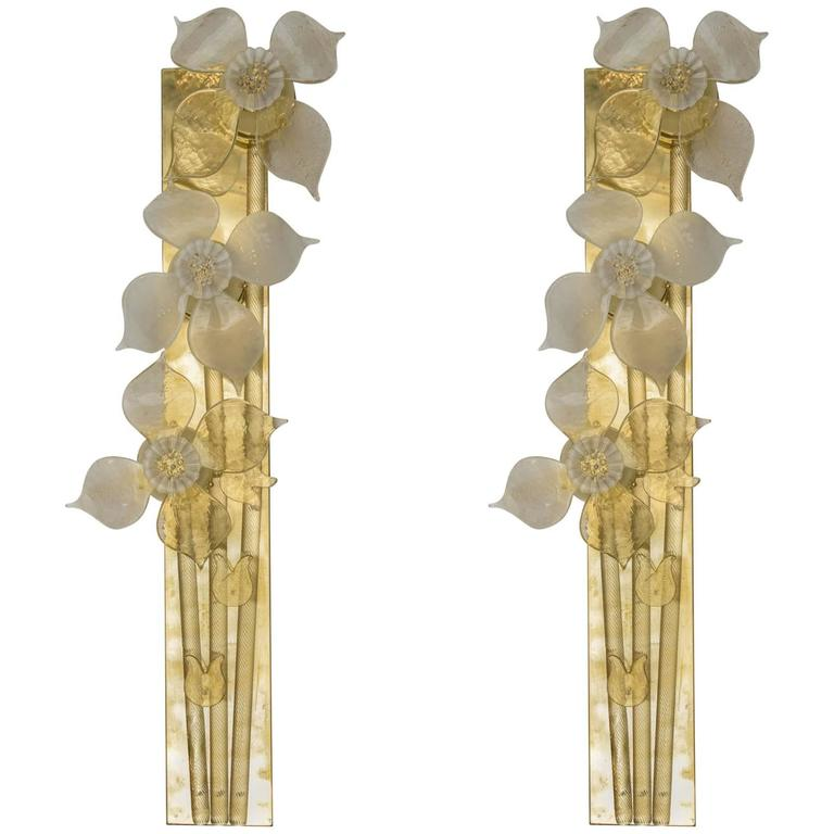 Decorative Pair of Murano Glass Sconces at 1stdibs