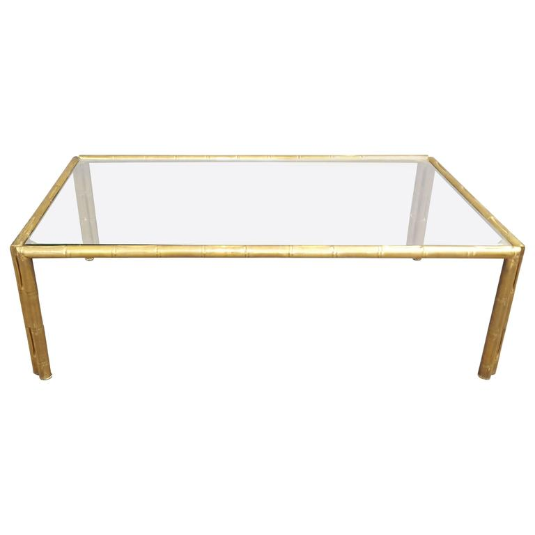 Italian Glass Top Faux Bamboo Brass Coffee Table Cocktail Table For Sale At 1stdibs