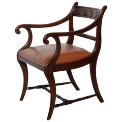 Irish Regency circa 1820, Mahogany Armchair