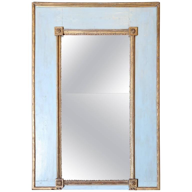 Very Simple Blue-Painted and Gilt Mirror For Sale at 1stdibs