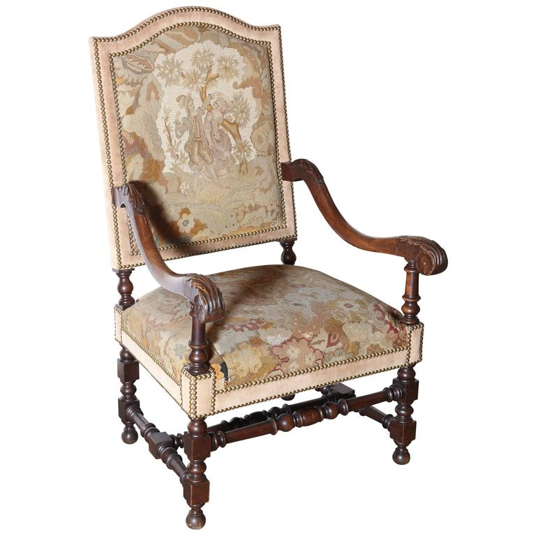 Single French High Back Carved Chair Upholstered In Tapestry Fabric For Sale