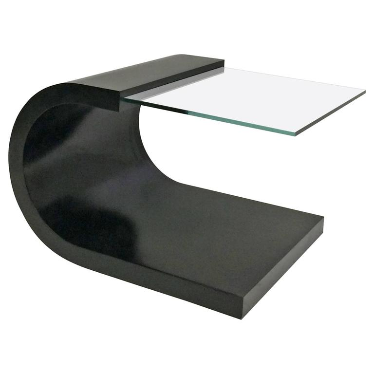 Waterfall Black Lacquer And Glass End Table