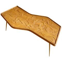 Zigzag Coffee Table with Carved Birds and Fish