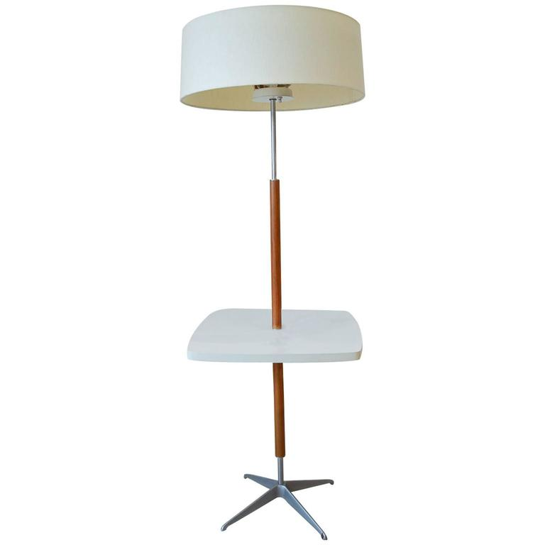 Gerald Thurston for Lightolier Chrome and Walnut Floor Lamp