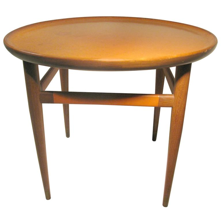 Classic Midcentury Leather Top Cocktail Table Henredon